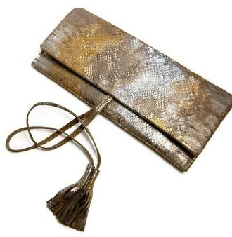 bag clutch snake print metallic handbag