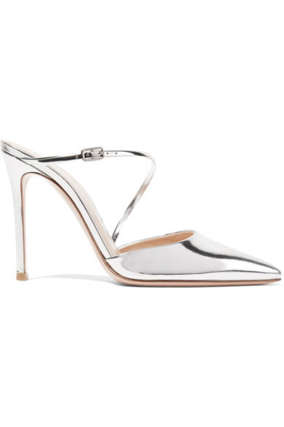 Gianvito Rossi mules silver leather shoes