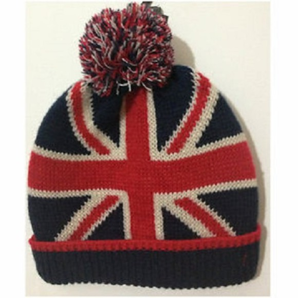 blue union jack red white hat beanie pom pom hats teen girls