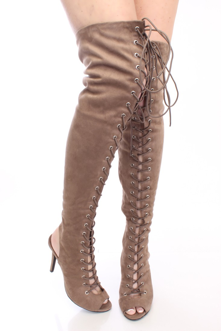 taupe lace up thigh high boots faux suede
