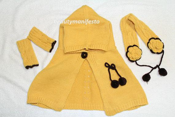 Baby crochet cloak set- Hand Knit cape set-Fashion Chunky Knit Winter Accessories Autumn Accessories