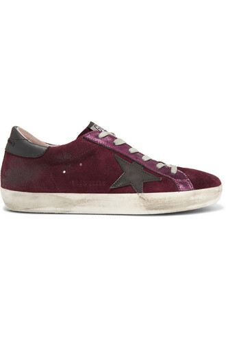 suede sneakers metallic sneakers leather suede burgundy shoes