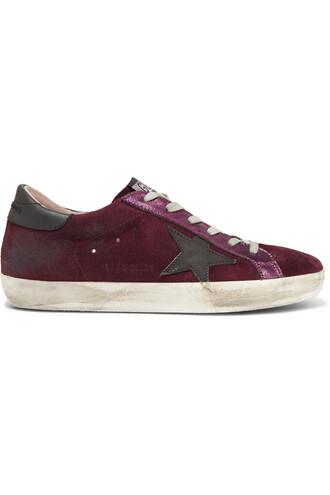 suede sneakers metallic sneakers leather suede burgundy shoes