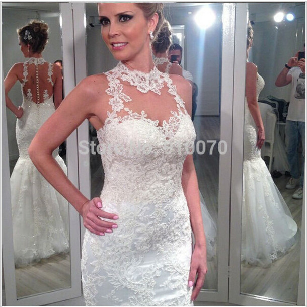 dress wedding dress white bridal gowns mermaid wedding dress lace wedding dress backless bridal gown