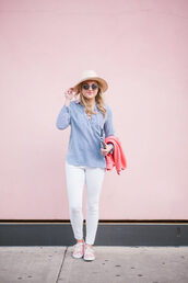 bows&sequins,blogger,shirt,sweater,shoes,bag,hat,make-up,felt hat,blue shirt,white pants,sneakers