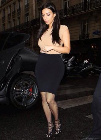 shirt kim kardashian tan skirt black high waisted skirt blouse