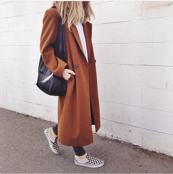 Coat: oversized coat, brown coat, long coat - Wheretoget
