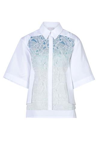 shirt cotton blue top