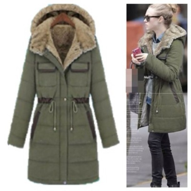 Army Green Winter Coat Photo Album - Reikian