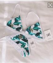 swimwear,green,leaves,white,white swimwear,leaf print,bikini,bikini top,bikini bottoms,bikini/underwear,blue swimwear,blue,floral,floral bikini
