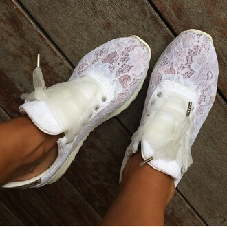 shoes lace material off-white cream color lace ribbons cute girly sporty running shoes