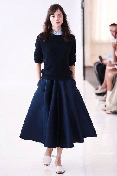skirt blue skirt maxi skirt simple marine