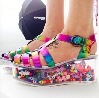 shoes rainbow plastic platform beads colourful