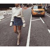 sweater,tumblr,white sweater,bell sleeves,skirt,mini skirt,denim skirt,over the knee boots,over the knee,nude boots,bell sleeve sweater