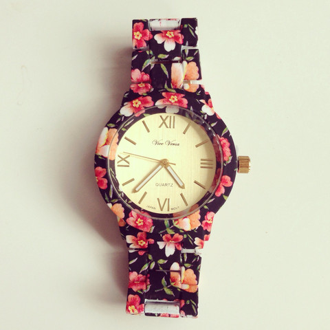 louun — Floral Black Metal Watch