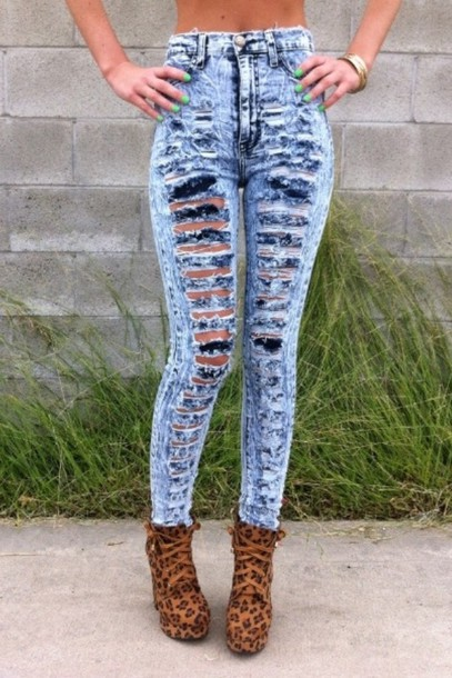 Jeans: acid wash cut-out ripped jeans high waisted jeans shoes