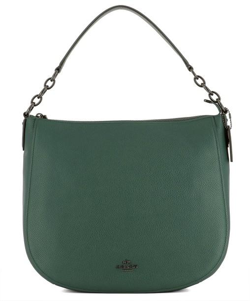 coach light bag shoulder bag leather blue light blue
