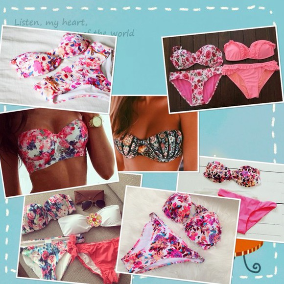 swimwear bikini bikini top flowers pattern bikini bottom