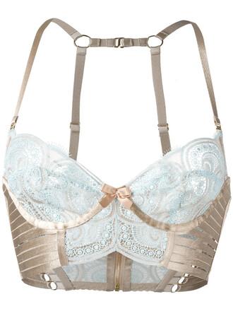 bra women spandex lace blue underwear