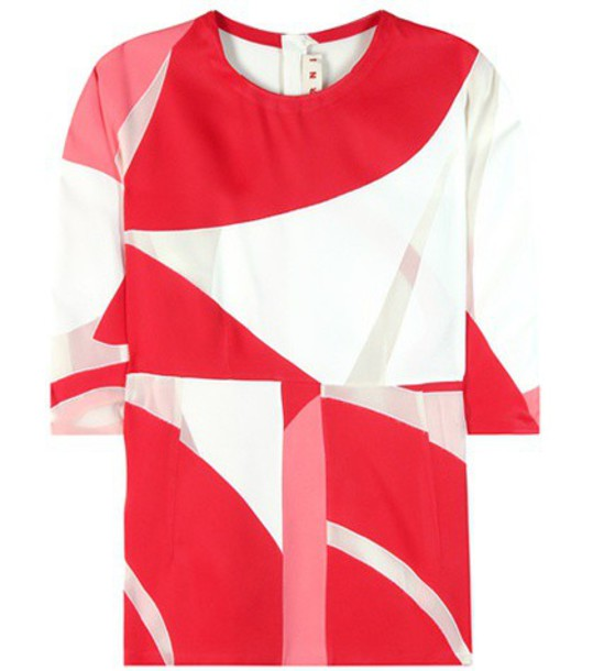 MARNI blouse printed blouse red top