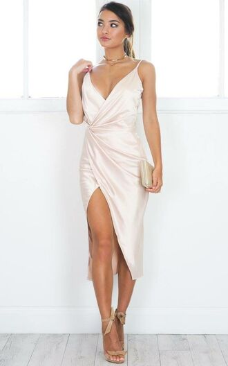 dress satin slit beautiful silk dress wrap dress white off-white