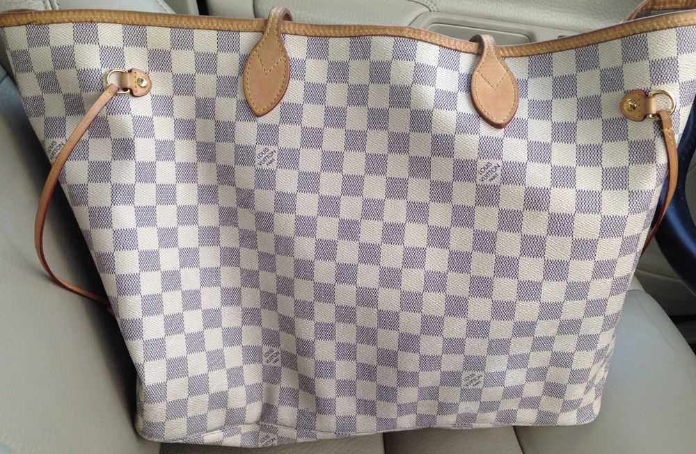 Louis Vuitton Neverfull Damier Azur GM N51108 100% Authentic Receipt, Box, Tags