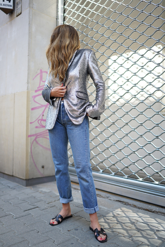 jacket metallic blazer tumblr blazer metallic denim jeans blue jeans shoes sandals flat sandals