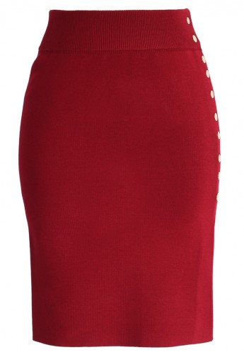 Studs Knitted Pencil Skirt in Wine - Retro, Indie and Unique Fashion