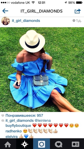 dress off the shoulder blue dress summer dress summer palm nice classy fun one shoulder dress open shoulders