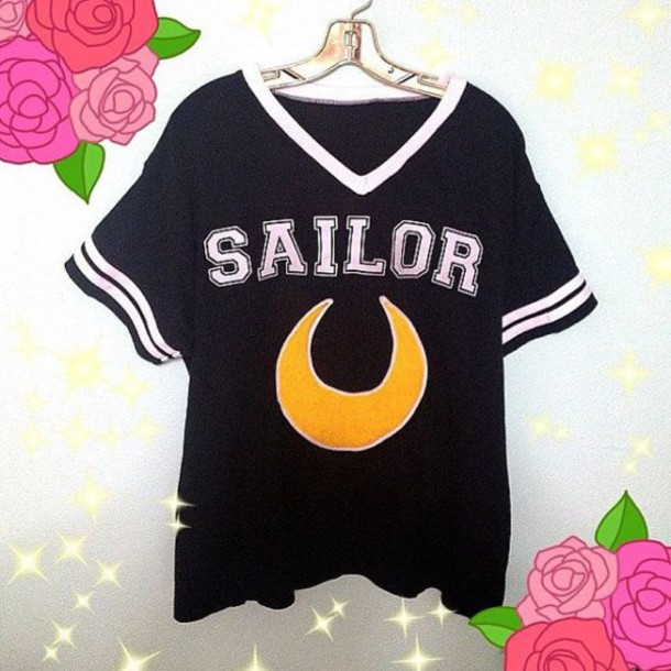 shirt sailor moon grunge grunge t-shirt grunge top kawaii shirt kawaii dress fashion