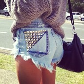 shorts,studded,denim shorts,vintage,ripped,high waisted,runwaydreamz,blouse,denim,studded shorts,sweater,cut off shorts,studs,jeans,fashion,High waisted shorts,high waisted denim shorts,studded denim shorts,summer outfits,blue,brown,cute,oversized sweater,sweater weather,black bag,summer,cardigan,funny,love,swag,drugs,junk,style,summer shorts,urban,summer top,helo