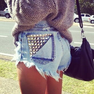 shorts studded denim shorts vintage ripped high waisted runwaydreamz blouse denim studded shorts sweater cut off shorts studs jeans fashion high waisted shorts high waisted denim shorts studded denim shorts summer outfits blue brown cute oversized sweater sweater weather black bag summer cardigan funny love swag drugs junk style summer shorts urban summer top helo
