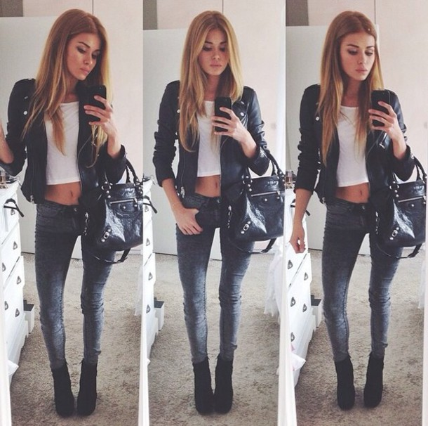 jeans shoes jacket bag shorts leather jacket black leather black bag leather bag shopping bag top winter outfits outerwear slim