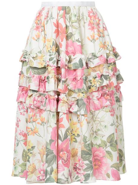 Bambah skirt women white print silk
