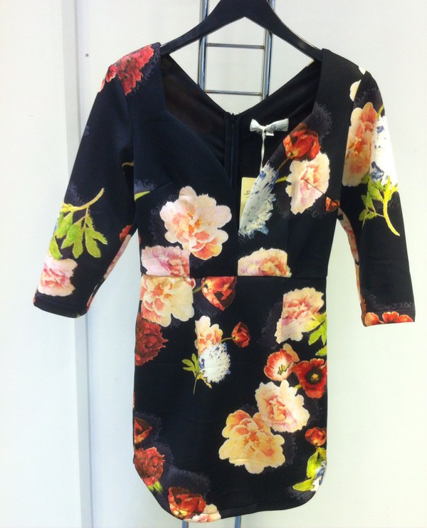 ladies scuba multi floral dress.