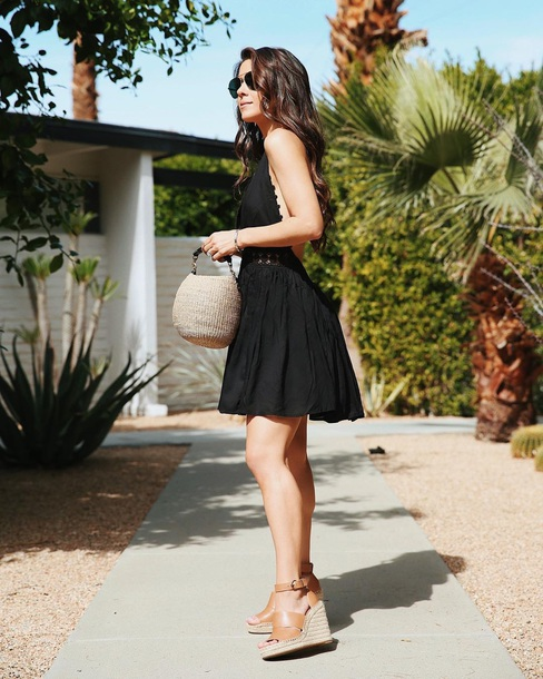 dress mini dress bag black dress open back dresses open back backless dress sandals wedge sandals