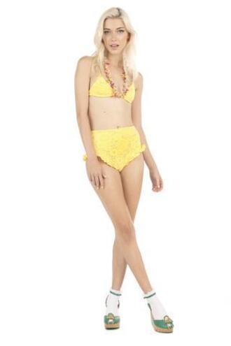 top bikini top lolli swim triangle yellow bikiniluxe