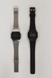jewels,Casio,casio watch,montre casio vintage,casio F91,black casio,watch,silver watch,black watch,matte black,minimalist jewelry,belt,prada,brown,brown belt,logo belt,leather,leather belt,waist belt
