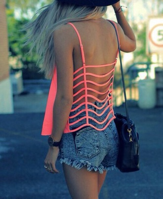 top neon pink open back shorts