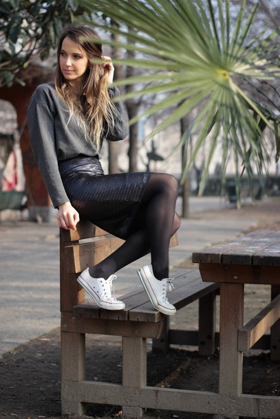 fashion quite blogger converse leather skirt grey sweater cool