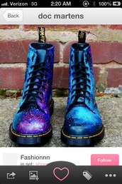 shoes,DrMartens,combat boots,galaxy print,blue