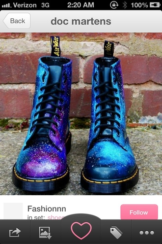 shoes drmartens combat boots galaxy print blue