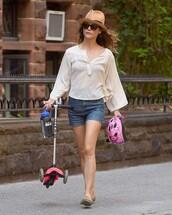 blouse,hat,shorts,flats,keri russell