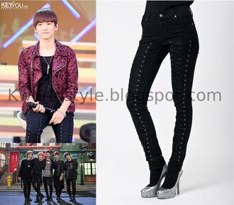 jeans skinny jeans black skinny jeans laced shinee k-pop kpop fashion grunge punk