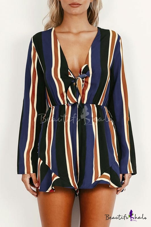 V-neck Bow Tie Long Sleeve Striped Chiffon Rompers