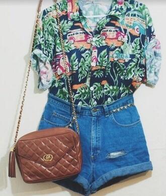 shirt pants shorts purse indie hipster boho bohemian beach palm tree style style me 90s style beach dress
