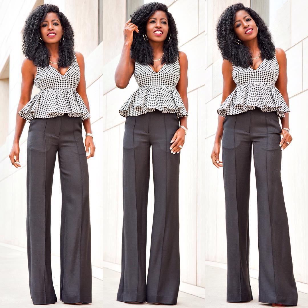 Pantry | Gingham Babydoll Peplum Wide Leg Trousers