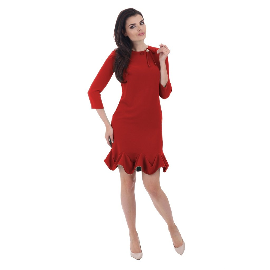 a009e0ed3e4 Fashiontage - Red Round Neck Sleeves Cocktail Dress ...