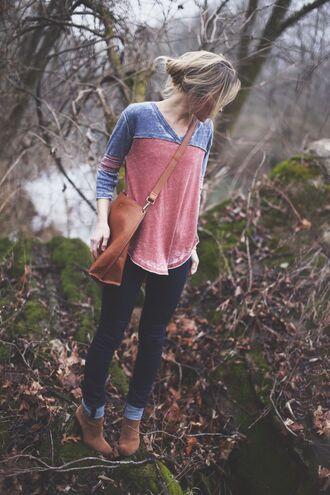 shirt baseball shirt t-shirt long sleeves classic hipster pink blue grunge blouse flow
