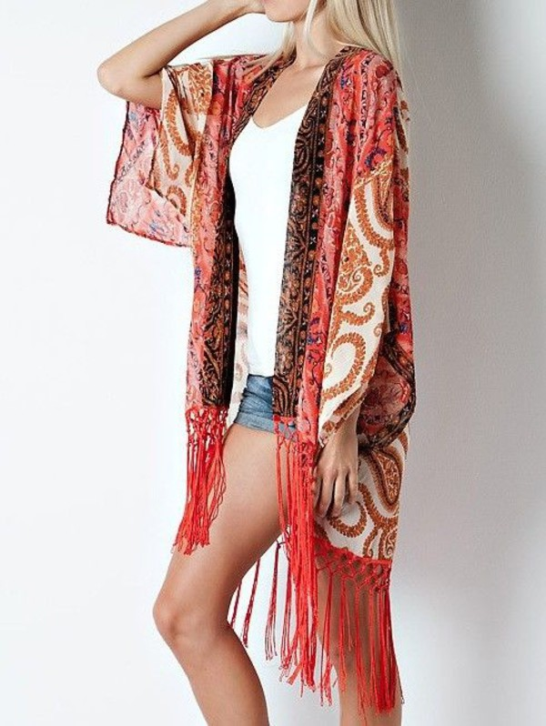 cardigan fringes kimono wrap paisleyprint printed top printed tops bohemian boho boho chic